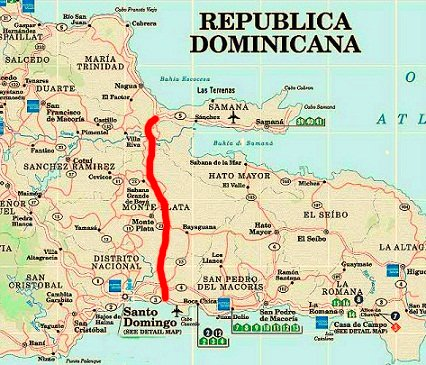 map santo domingo samana highway
